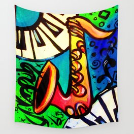 Sax and keys Wall Tapestry