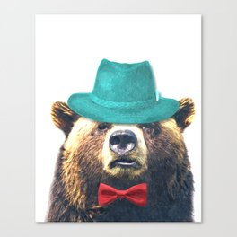Funny Bear Illustration Canvas Print