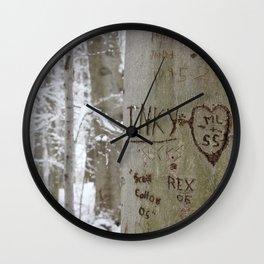 Winter Tress Love Carvings, Knox Farm State Park, Winter 2013 Wall Clock