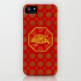 Golden Tortoise / Turtle Feng Shui on red iPhone Case