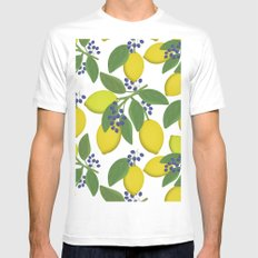 Sprigs of lemon with blue berries on a white background. White MEDIUM Mens Fitted Tee