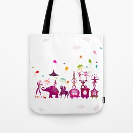 colorful circus carnival traveling in one row on white background Tote Bag