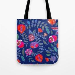 Pomegranate pattern electric blue Tote Bag