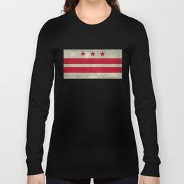 Washington D.C flag with worn textures Long Sleeve T-shirt