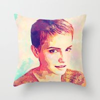 emma watson Throw Pillows featuring Watson by Ruy Arte Hewitt