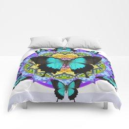 PURPLE AMETHYST BLUE BUTTERFLY MANDALA  WHITE ART Comforters