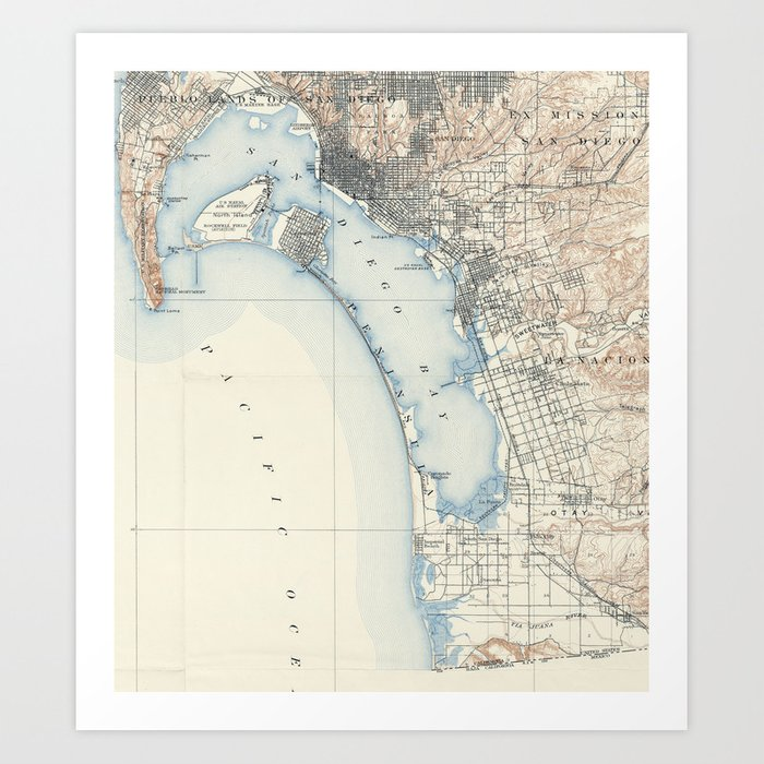 Vintage San Diego Map.Vintage Map Of San Diego California 1902 Art Print By Bravuramedia
