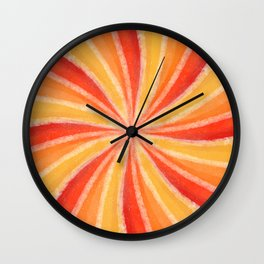 Red, Orange and Yellow Mandala Kaleidoscope Wall Clock