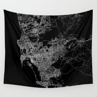 san diego Wall Tapestries featuring san diego map by Line Line Lines