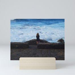 Ocean lover, meditation in front of the sea Mini Art Print