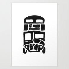 London bus linoprint Art Print