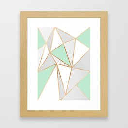 Mint Green, Grey & Gold Geo Framed Art Print
