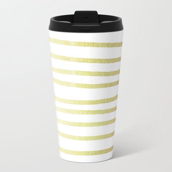 Simply Drawn Stripes 24k Gold Metal Travel Mug