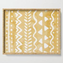Loose bohemian pattern - yellow Serving Tray