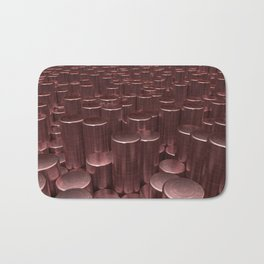 Pattern of red brushed metal cylinders Bath Mat