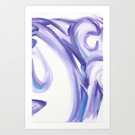Wind on the City 2 - - Abstract painting in modern lavender purple with hints of bright blue Art Print