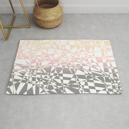 Iridescent, pink to gray, delicate geometric shapes pattern Rug