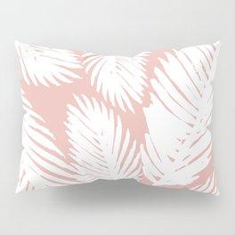 White Tropical Palm Tree Fern Leaf on Rose Gold Pattern Pillow Sham