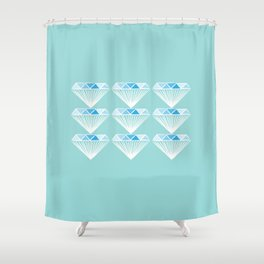 Diamonds Pattern - Blue, Green Shower Curtain
