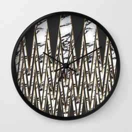 Modern Long Marble Gold and Black Triangles Wall Clock