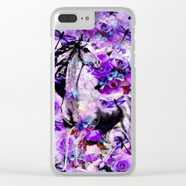 HORSE ROSES DRAGONFLY IMPRESSIONS Clear iPhone Case