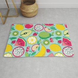 Paper cut geo fruits // aqua background multicoloured geometric fruits Rug