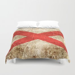 Vintage Aged and Scratched Alabama Flag Duvet Cover