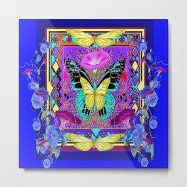 DECORATIVE YELLOW BUTTERFLY MORNING GLORIES BLUE ART Metal Print