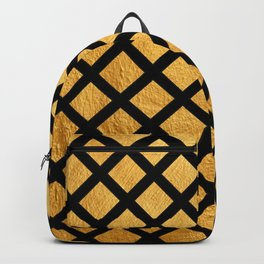 Black and Gold Geometric Pattern Backpack
