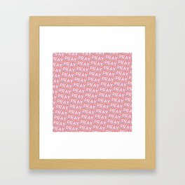 'Pray' Trendy Rainbow Text Pattern (Pink) Framed Art Print