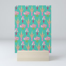 Flower Vases illustrated Pattern Mini Art Print
