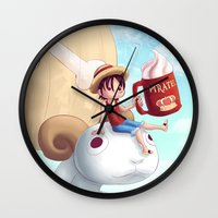 luffy Wall Clocks featuring Straw Hat Luffy by Amber Graves
