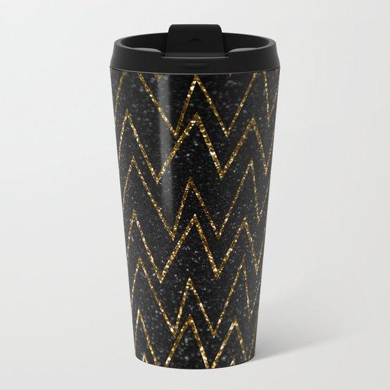 Elegant gold chevron #2 Metal Travel Mug