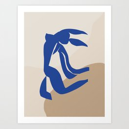 mATISSE BLUE WOMEN MINIMAL ART Art Print