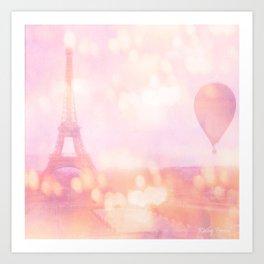 Shabby Chic Pink Eiffel Tower Hot Air Balloon Art Print