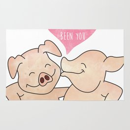 Smiling Piggy Couple - It is you - Always been you - Happy Valentines Day Rug