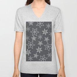 Snowflakes on grey background Unisex V-Neck