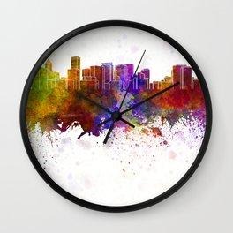 Portland skyline in watercolor background Wall Clock