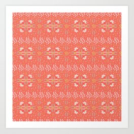 Coral Daisies Patchwork Cosy Homely Quilt Design Art Print