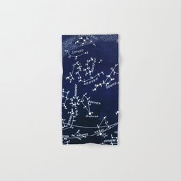 French July Star Maps in Deep Navy & Black, Astronomy, Constellation, Celestial Hand & Bath Towel