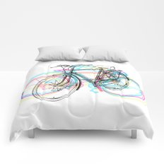 Artistic modern pink teal abstract bicycles art Comforters