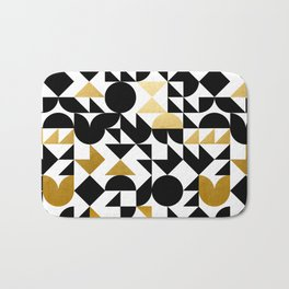 geometric black & gold Bath Mat