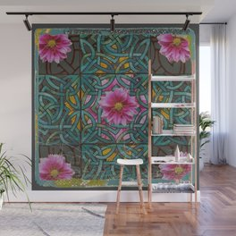 GRUNGY ANTIQUE PINK FLORAL CELTIC PATTERN Wall Mural