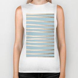 Abstract Drawn Stripes Gold Tropical Ocean Sea Blue Biker Tank