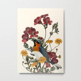 Little Bird and Flowers Metal Print