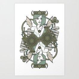 SINS Mentis - Envy Queen of Clubs Art Print