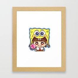 Chibi Spongebob Cosplay Framed Art Print