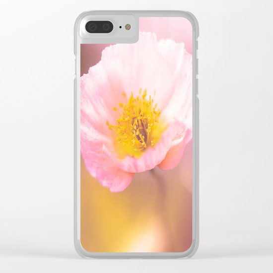 Pink poppy on a purple background with bokeh - colorful nature Clear iPhone Case