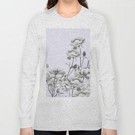 black and white peony i purple background Long Sleeve T-shirt