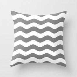 Wavy Stripes (Gray/White) Throw Pillow